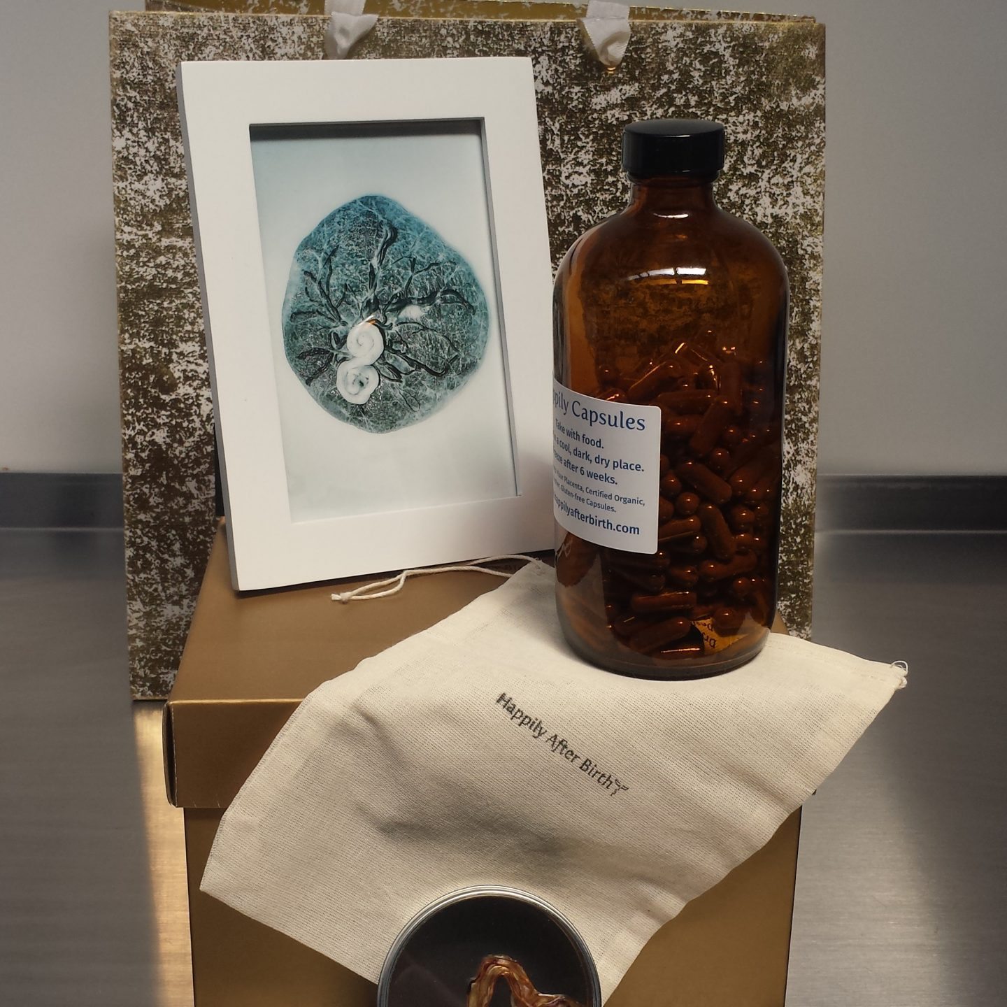 Package Placenta Encapsulation for Dallas Ft Worth Bottle, cord keepsake, placenta photo framed in front of pretty package